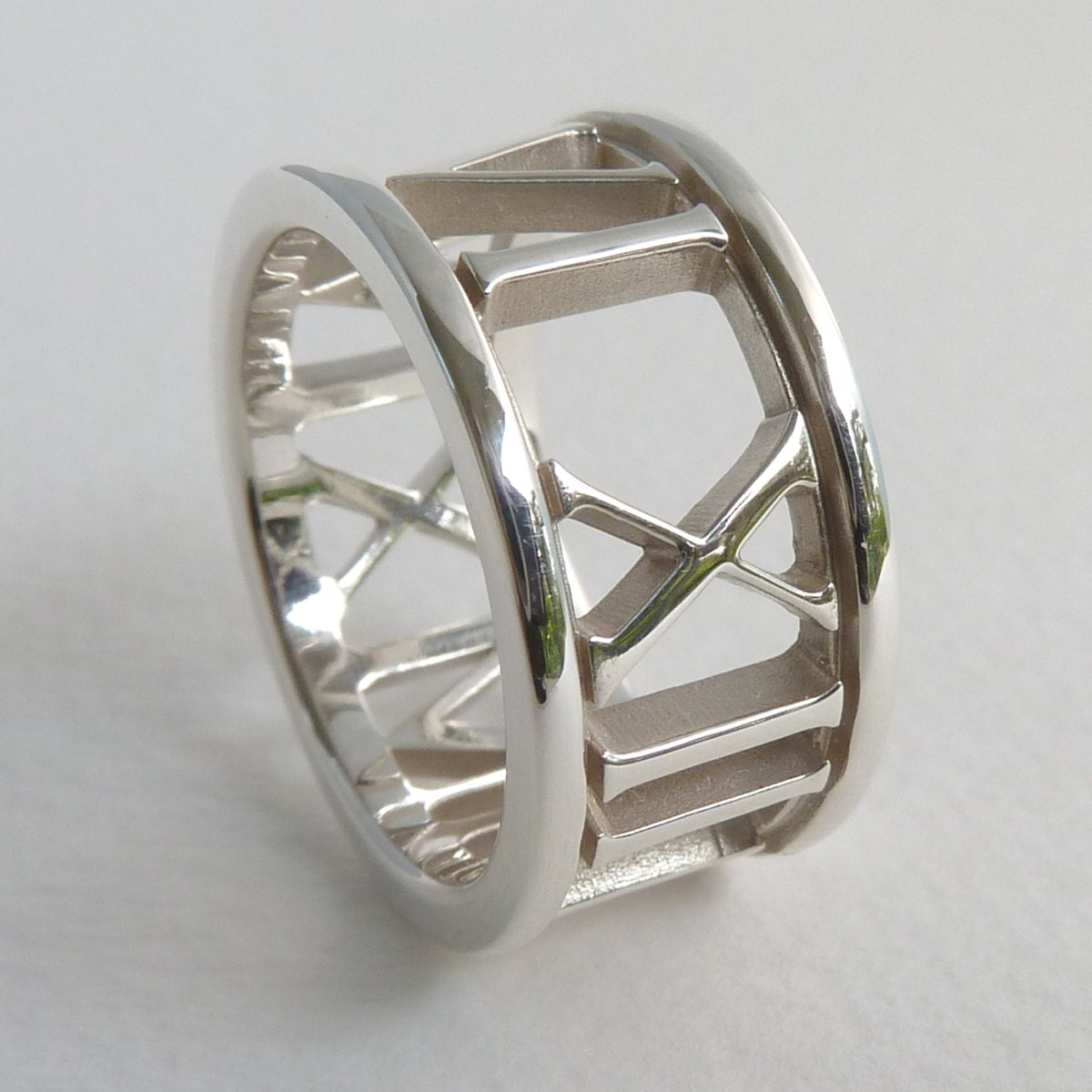 Custom Date Roman Numeral Ring In Sterling Silver 10mm Wide