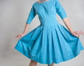Vintage 1950s Blue Cotton Dress - 1958 Confirmation - Wedding Bridal Fashions