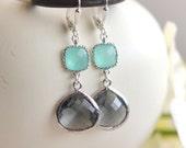 Charcoal Teardrop and Aqua Jewel Drop Earrings in Silver.  Aqua and Gray Bridesmaid Dangle Earrings. Jewelry Gift Her.  Christmas Gift.