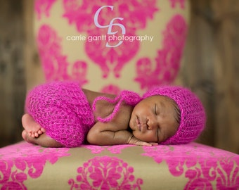 Mohair Baby Bonnet and Shorts, Photo Prop, Cosmopolitan, Newborn Photography Prop, Kid Mohair and Silk