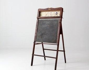 1920s easel, Lithoplate Better Than Slate Education Board, chalkboard & art desk