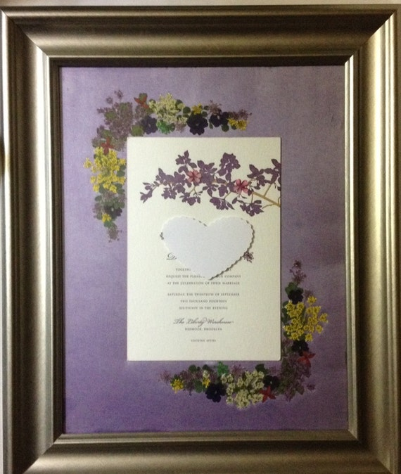 wedding invitation pressed flower framed wedding keepsake. Black Bedroom Furniture Sets. Home Design Ideas
