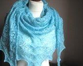 Sky hand knitted shawl