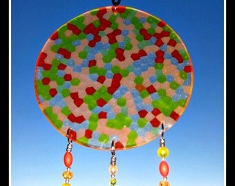 Acrylic Yellow, Orange & Tangerine Windchime with Beads