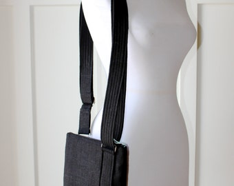 Black Linen Hipster Cross body Purse