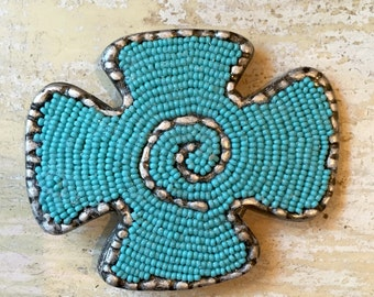 Turquoise Beaded  Maltese Cross Antique Silver Belt Buckle
