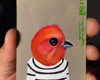 Common RoseFinch  portrait on a playing cards. Original acrylic painting. 2013