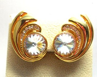 Vintage Rivoli and Rhinestones Gold Swirl Earrings Brilliant cut AB Swarovski BRIDE Runway Statement SALE