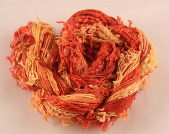 Red and Gold Variegated hand dyed Thread weaving thread sewing quilting cotton ribbon Embroidery thread embellishment Waldorf doll hair
