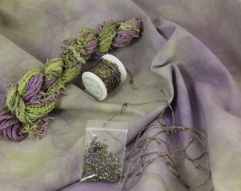 Purple Moss Green Space Dyed Cotton Fat Quarter Fabric matching Embroidery quilting thread sewing fabric beaded yarn fiber art embellishment