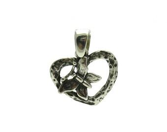 PE000954 Sterling silver pendant  925 Heart Butterfly