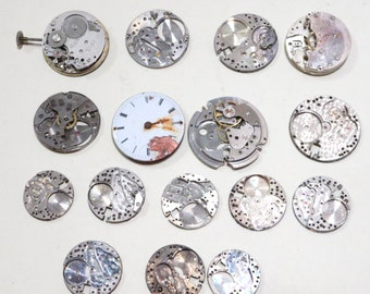 Vintage Round Pocket Wrist Watch Movements Assemblage Mixed Media Parts 16 pieces Lot