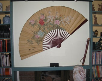 REDUCED - Huge Chinese Fan with Floral Design - Handpainted and signed - Original Home Decor