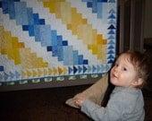 "Baby Boy Quilt Blue Yellow White Crib Quilt Lap Quilt 36"" x 42"""