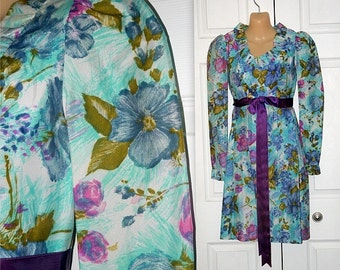 Periwinkl'd ... Vintage 60s 70s mini dress / watercolor floral / empire waist / ruffled dolly babydoll ... XS S