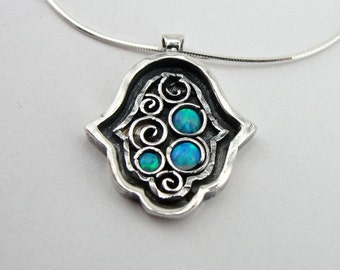 """Sterling Silver 925 Hamsa pendant with Blue Opal stones, Handcrafted pendant 16"""", gift (ms p1083)"""
