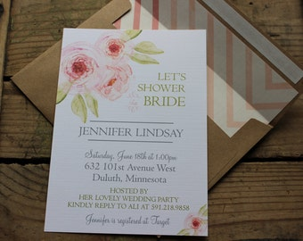 Romantic, Water Color, Floral, Bridal Shower Invitations, Simple, Neutral, Elegant