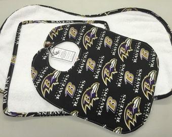 Baltimore Ravens Baby Bib/Washcloth/Burp Cloth Set