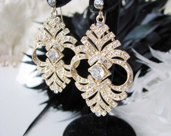 Crystal Teardrop Earrings Wedding Earrings Bridal Earrings Crystal Jewelry Rhinestone Jewelry Gold Plated Filigree Wedding Earring Drops