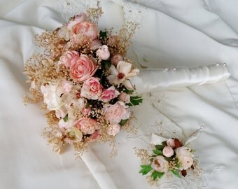Dried Wedding Flowers Peach blush silk Bridal Bouquet champagne babys breath custom made accessories matching flower crown available