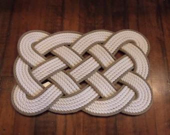 "Cotton Bathmat with Khaki Gold Accent 29 x 14"" Nautical Coastal Beach Rope Rug Off white"