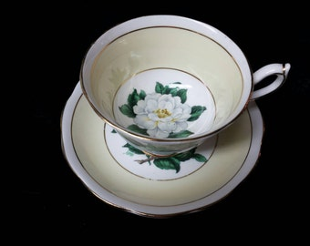 "Royal Albert Artist Signed A. Wagg  ""Lady Clare"" Gardenia Flower Cup and Saucer"