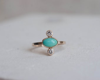 Dyer Blue Turquoise + Diamond Ring | Solid 14k Recycled Gold