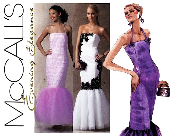 Evening Dress Pattern Uncut McCalls M4712 Strapless Mermaid
