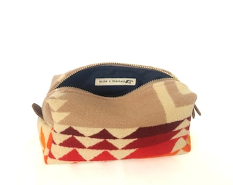 Small Toiletry Bag from 1930s Tribal Blanket with Leather