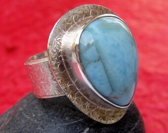 Sterling Silver Larimar Ring, Teardrop Bezel Set Cocktail Ring, Wide Band Gemstone Statement Ring
