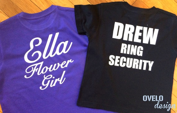 Custom Flower Girl and Ring Bearer T-Shirts with Necklace and Bow Tie on front