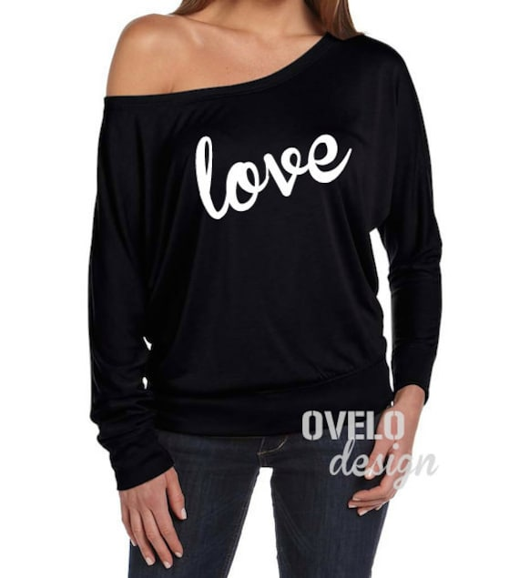 love Flowy off the Shoulder Long Sleeve T-shrit