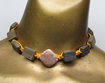 Brown and salmon marble stone beaded choker necklace made with dyed yellow hemp. Long ties in back. HCK-022