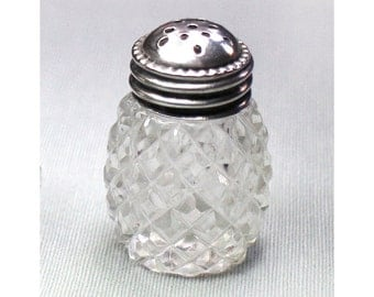Vintage Little Crystal and Sterling Salt  Shaker