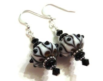 Black Pinwheel Lampwork Earrings With Black Swarovski Crystals, Black Lampwork Earrings, Glass Earrings, Lampwork Jewelry, Black Earrings