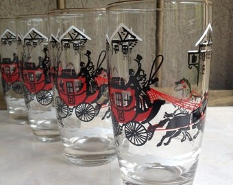 Horse & Buggy Glasses Stagecoach Winter Stage Coach Snow Red Black White Vintage Glass Set - #4794