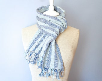 Woven Blue Striped Scarf - Long Blue Scarf - Blue Scarf - Striped Blue Winter Scarf - Thick Woven Blue Scarf - Striped Fringed Ends Scarf