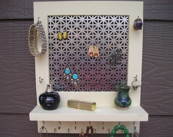 You Pick the Color Wall Mount Jewelry Organizer - jewelry holder - earring holder - earring screen- woodworking - jewellery