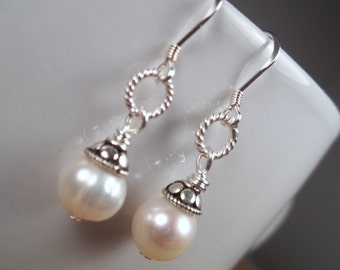 STERLING SILVER Freshwater Pearl Dangle Earrings