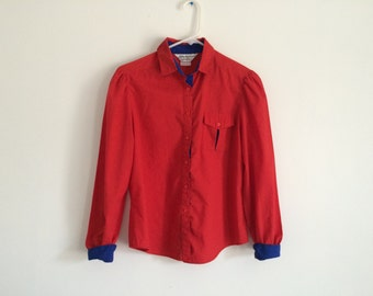 1980s colorblock HIPSTER structured blouse