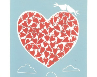 Flying Red Heart, Valentines Day Gift - Wedding Gift , Linocut - Original Print - Love Doves and Blue Sky - Anniversary Print, Romantic Gift