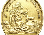 Patron Saint HUBERT Saint of HUNTERS & Saint Roch with his Dog Vintage Religious Medal Pendant on Black Cord