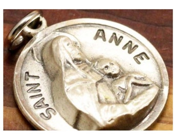 Vintage Saint Anne Silver Religious Medal Pendant CHAPEL Sterling on 18 inch sterling silver rolo chain