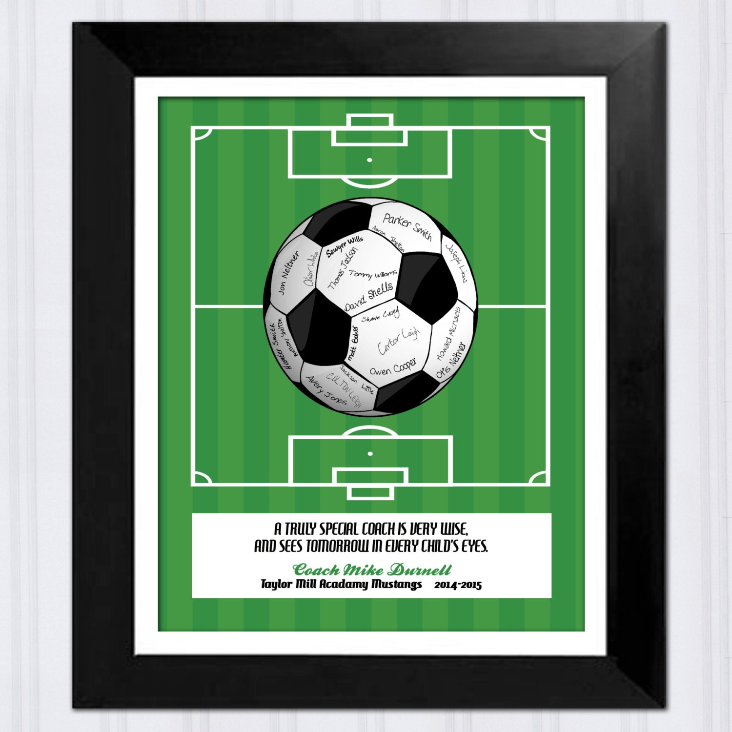 Personalized Gift for Soccer Coach Printable File Signed