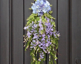 Spring Wreath Summer Wreath Teardrop Vertical Door Swag Decor Purple Hydrangea Wispy Floral Swag Floral Door Decoration-LAST ONE