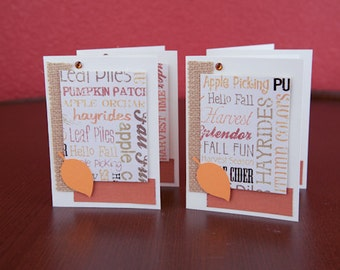 Thanksgiving Note Cards with fall leaves and rhinestones