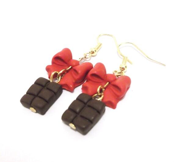 Chocolate Earrings ( food earrings red bow earrings polymer clay jewelry miniature food gift for girl cute earrings gold earrings )