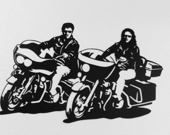 Motorcycle Riding Couple  Metal Wall Art