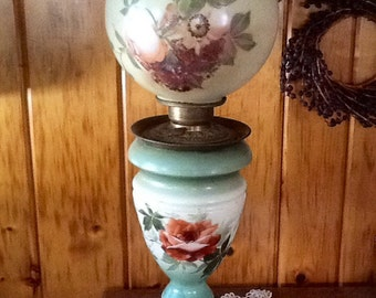 Kerosene Parlor Lamp Gorgeous Milk Glass Rare Antique 1800's Victorian Lighting