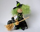 Witch Art Doll, Clothespin Doll, Halloween Peg Doll, Green and Black Witch, Halloween Decor,  Pegtales Big Girls Broom